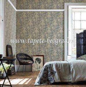 Tapete uz stilski nameštaj i krevet u spavaćoj sobi.